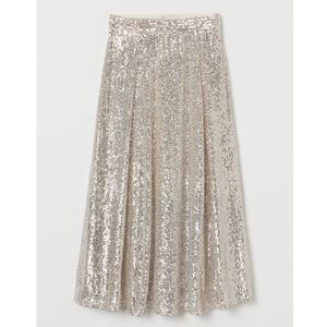H&M Sequin Calf Length Skirt